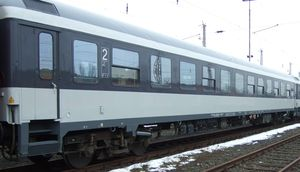 Second class chair car Bimdz 268 with multi-purpose area. RIC-coach. Long distance operation.
