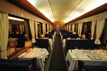 Restaurant coach WRmh 132 during operation with Skandinaviska Jernbanor AB as Blåtåget in Sweden. Carefully refurbished in hisotric style.
