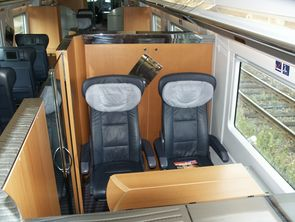 High speed tilting Diesel-electrical Multiple Unit (DMU) VT605 (ICE-TD). First class compartment.