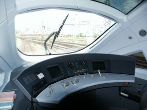High speed tilting Diesel-electrical Multiple Unit (DMU) VT605 (ICE-TD). Driver's desk and view from driver's cabin.